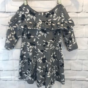Janie & Jack Dress Sz 2T Grey Black White Flowers